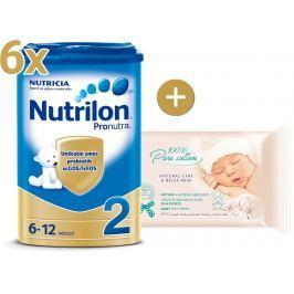 Nutrilon Nutrilon 2 Pronutra - 6 × 800g + vlhčené obrúsky Oncle SENSITIVE