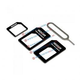 Adaptér na SIM karty 3v1 + ihla na vyberanie SIM (čierna)