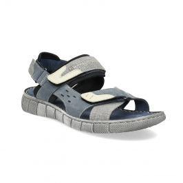 Modré kožené pánske sandále na suchý zips