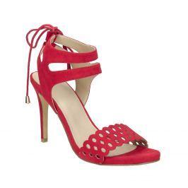 Červené sandále na ihličkovom podpätku