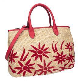 Pletená červená kabelka v prírodnom dizajne