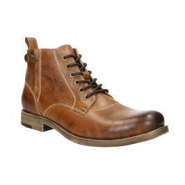 Hnedá kožená členková obuv