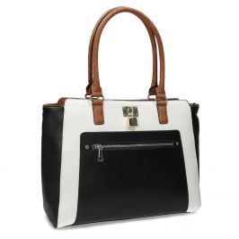Dámska čierno-biela kabelka so zámkou