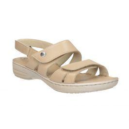 Dámske béžové kožené sandále so suchými zipsami