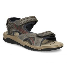 Kožené hnedé sandále na suchý zips