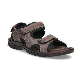 Pánske hnedé kožené sandále na suchý zips