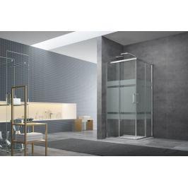 Sprchový kút Siko Tex štvorec 90 cm, sklo stripe, chróm profil, univerzálny SIKOTEXQ90CRS