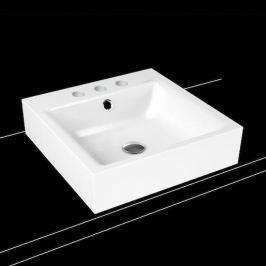 Umývadlo na dosku Kaldewei Puro 3156 46x46 cm alpská biela tri otvory pre batériu 900606033001