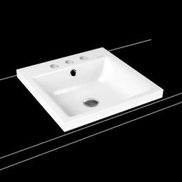 Umývadlo na dosku Kaldewei Puro 3153 46x46 cm alpská biela tri otvory pre batériu 900306033001