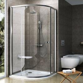 Sprchový kút Ravak Pivot štvrťkruh 90 cm, R 500, sklo číre, satin profil PSKK390TS