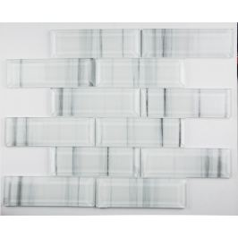 Sklenená mozaika Premium Mosaic bílá 30x30 cm lesk MOSV48STRIPE