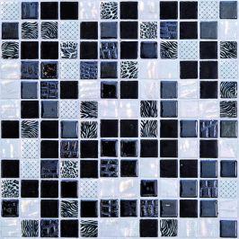 Sklenená mozaika Mosavit Safari negro 30x30 cm lesk SAFARINE