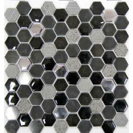 Mozaika Mosavit Hexagono negro 30x30 cm mat / lesk HEXANE