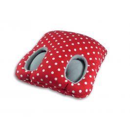 Leschi Hřející polštář na nohy 32x32cm červená s puntíky/šedá