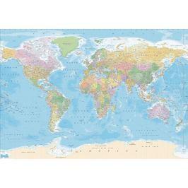 1Wall 1Wall Vliesová fototapeta Politická mapa modrá 366x253 cm