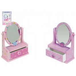 Teddies Zrcadlo šperkovnice zásuvka dřevo 16 2x24 2x8 5cm asst 3 barvy v krabici