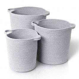 Blomus Súprava bavlnených košov Boa 3 kusy sivá