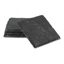 Boska Súprava 4 štvorcových bridlicových podnosov na tapas/podložiek pod poháre Slate