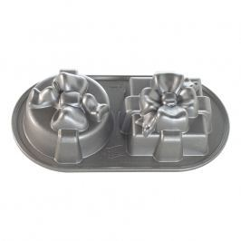 NordicWare Forma na pečenie v tvare 2 darčekov Pretty Presents Duet Bundt® strieborná, Nordic Ware