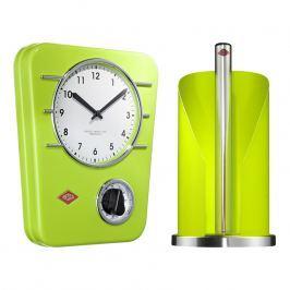 Wesco Zvýhodnená súprava hodiny a držiak na kuchynské utierky svetlozelená
