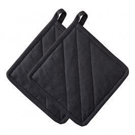 ZONE Súprava 2× kuchynská chňapka štvorcová black