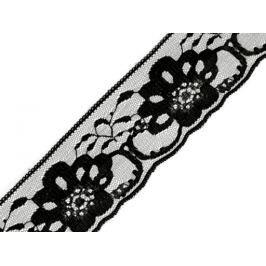 Čipka syntetická šírka 60 mm Black 150m