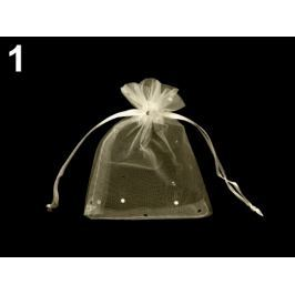 Darčekové vrecúško 9x11 cm organza s flitrami béžová najsv. 10ks Stoklasa