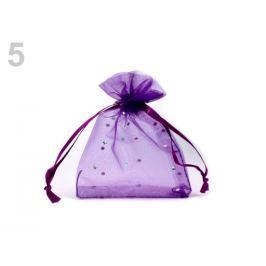Darčekové vrecúško 9x11 cm organza s flitrami fialová purpura 250ks Stoklasa