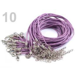Voskovaná šnúrka s karabínkou dĺžka 45cm fialová lila 20ks Stoklasa
