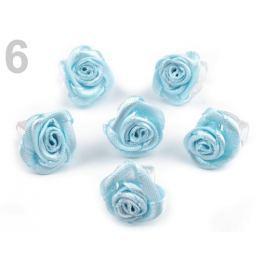 Štipec do vlasov 10x13-15 mm s ružičkou ELIS modrá nezábudková 10ks