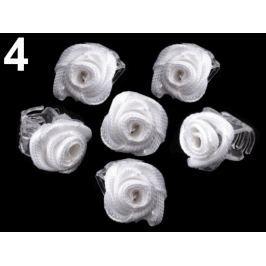 Štipec do vlasov 10x13-15 mm s ružičkou ELIS biela 20ks