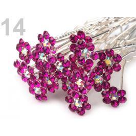Štrasová vlásenka kvet Ø6 mm Fandango Pink 2ks Stoklasa