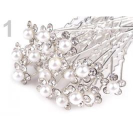 Štrasová vlásenka kvet s perlou Ø10 mm crystal 20ks Stoklasa