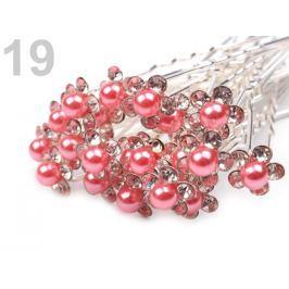 Štrasová vlásenka kvet s perlou Ø10 mm Bubblegum 20ks Stoklasa