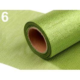 Rezaná stuha šírka 15 cm s lurexom zelená stepná 8ks Stoklasa