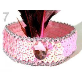 Karnevalová  čelenka flitrová s perím retro ružová sv. 1ks Stoklasa