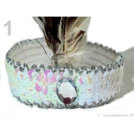 Karnevalová  čelenka flitrová s perím retro biela 10ks Stoklasa
