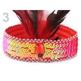 Karnevalová  čelenka flitrová s perím retro červená šarlatová 10ks Stoklasa