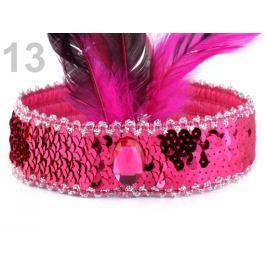Karnevalová  čelenka flitrová s perím retro ružová ostrá 10ks Stoklasa