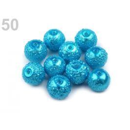 Voskované perly vrúbkované Ø8 mm modrá sýta 30ks Stoklasa