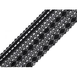 Čipka bavlnená šírka  50mm paličkovaná  ČESKÝ VÝROBOK Black 30m
