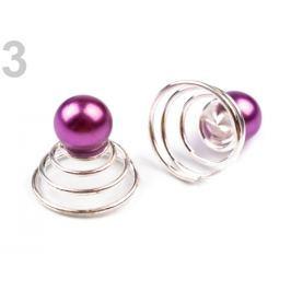 Spona do vlasov a svetrov - pružinka s perlou fialová sv. 10ks Stoklasa