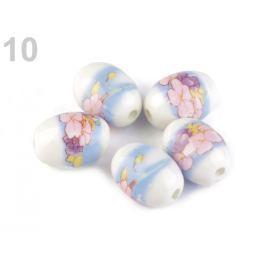 Porcelánové koráliky s kvetmi oliva 13x18 mm multikolor 200ks Stoklasa
