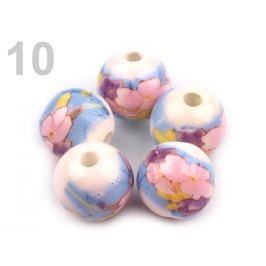 Porcelánové koráliky s kvetmi Ø12 mm multikolor 25ks Stoklasa