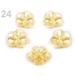 Plastové koráliky Glance kvet Ø26 mm bielo žltá 5ks Stoklasa