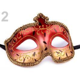 Karnevalová maska KAMILA červená  6ks Stoklasa