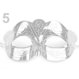 Karnevalová maska škraboška strieborná sv. 10ks Stoklasa