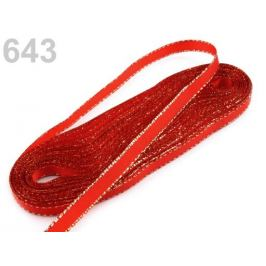 Stuha taftová s lurexom šírka 6mm červená šarlatová 10m