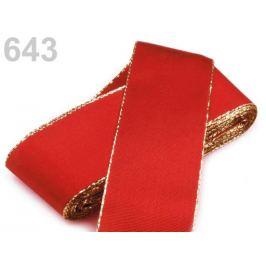 Stuha taftová s lurexom  šírka 40mm červená šarlatová 10m