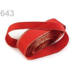 Stuha taftová s lurexom šírka 25mm červená šarlatová 10m